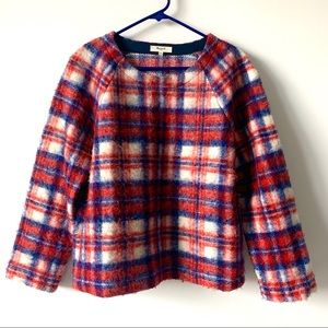Madewell Plaid Holiday Cosy Fuzzy Sweater Sz Med